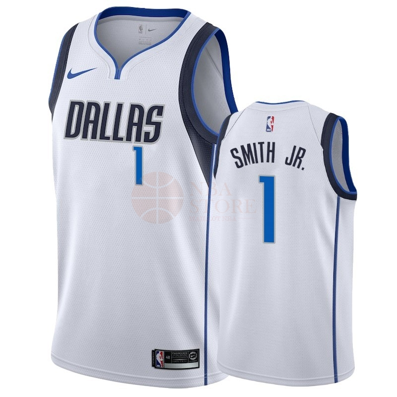 Classic Maillot NBA Nike Dallas Mavericks NO.1 Dennis Smith Jr Blanc Association 2018-19