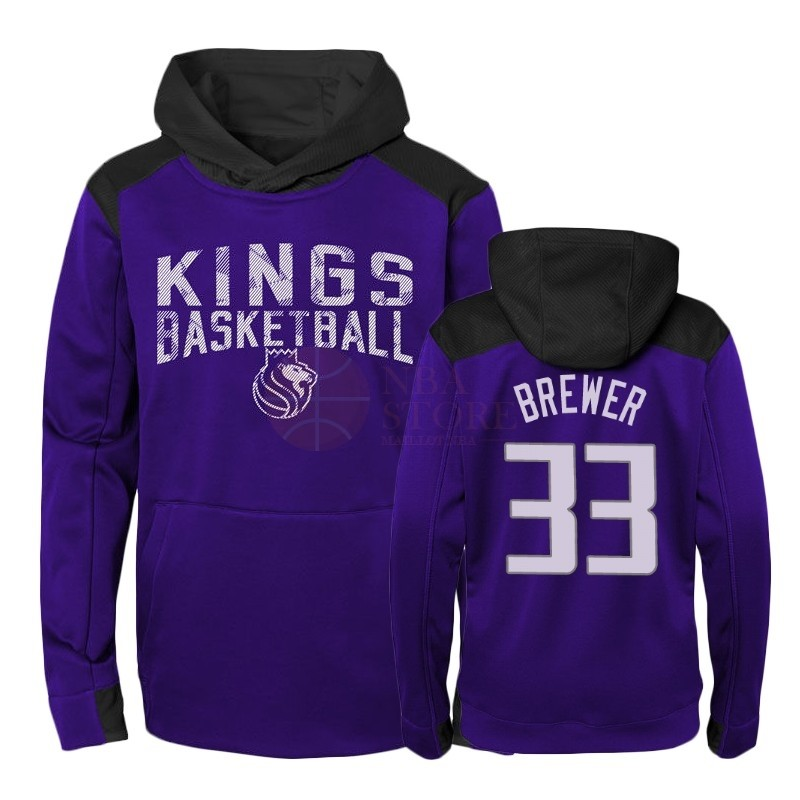Classic Hoodies NBA Enfant Sacramento Kings NO.33 Corey Brewer Pourpre