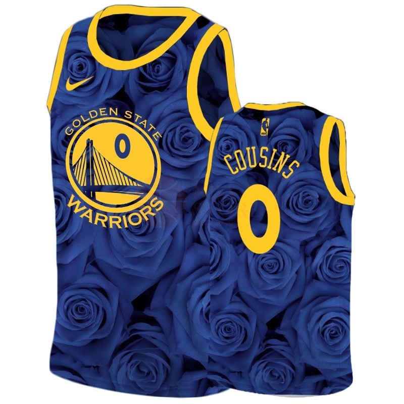 Classic Maillot NBA Nike Golden State Warriors NO.0 Demarcus Cousins Marine