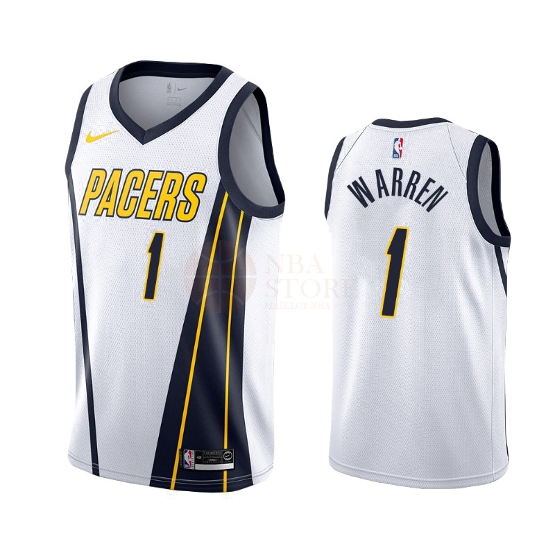 Classic Maillot Earned Edition Indiana Pacers NO.26 T.J. Warren Gray Blanc 2019-20