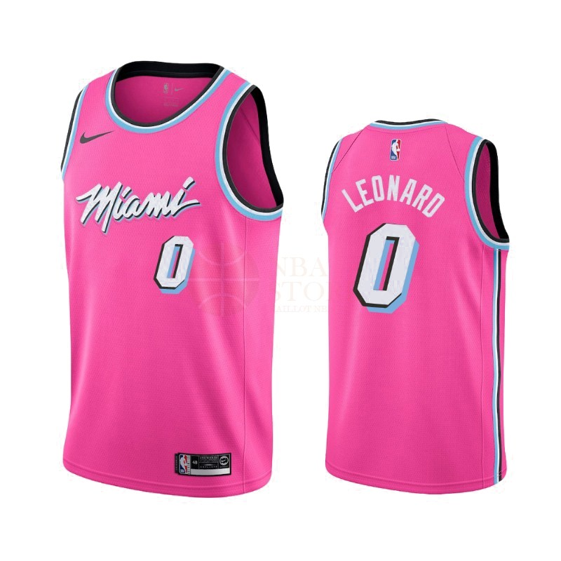 Classic Maillot Earned Edition Miami Heat NO.0 Meyers Leonard Nike Rosa 2019-20