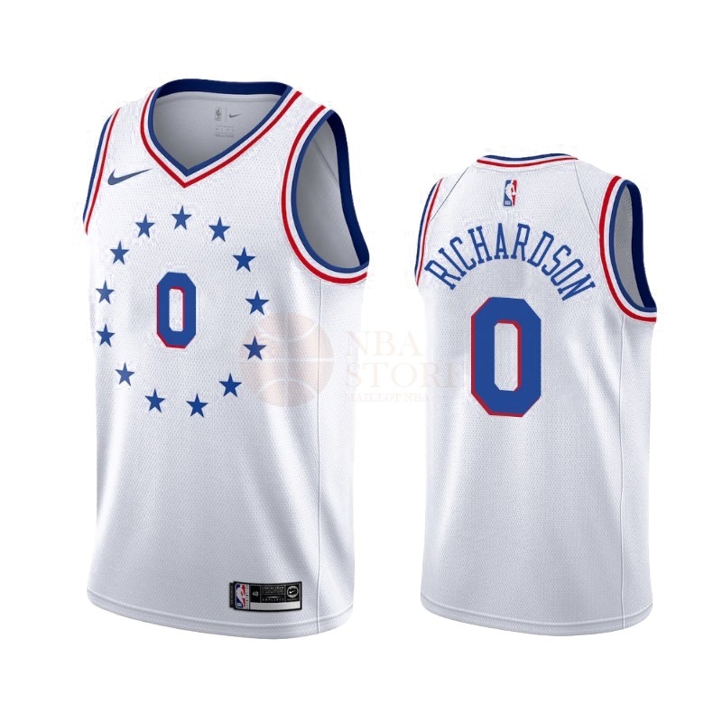 Classic Maillot Earned Edition Philadelphia Sixers NO.0 Josh Richardson Blanc 2019-20
