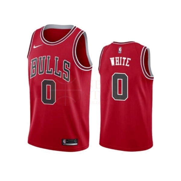 Classic Maillot NBA Nike Chicago Bulls NO.0 Coby White Rouge Icon 2019-20