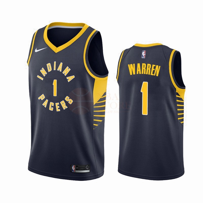 Classic Maillot NBA Nike Indiana Pacers NO.1 T.J. Warren Gray Marine Icon 2019-20