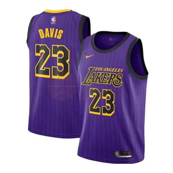 Classic Maillot NBA Nike Los Angeles Lakers NO.23 Anthony Davis Purpura Ville 2019-20