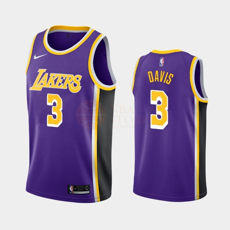 Classic Maillot NBA Nike Los Angeles Lakers NO.3 Anthony Davis Pourpre Statement 2019-20