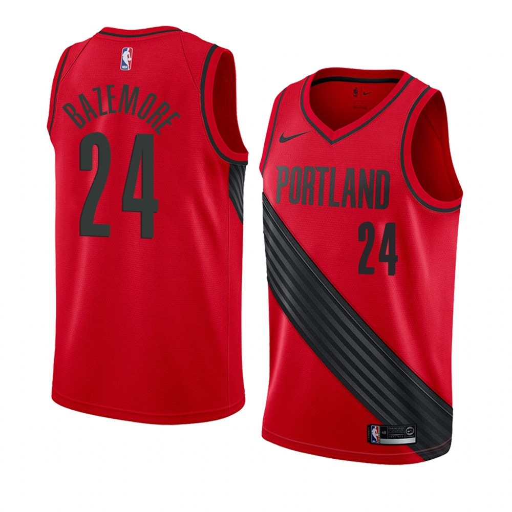 Maillot NBA Nike Portland Trail Blazers NO.24 Kent Bazemore Rouge Statement 2019-20