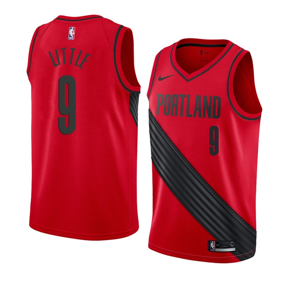 Maillot NBA Nike Portland Trail Blazers NO.9 Nassir Little Rouge Statement 2019-20