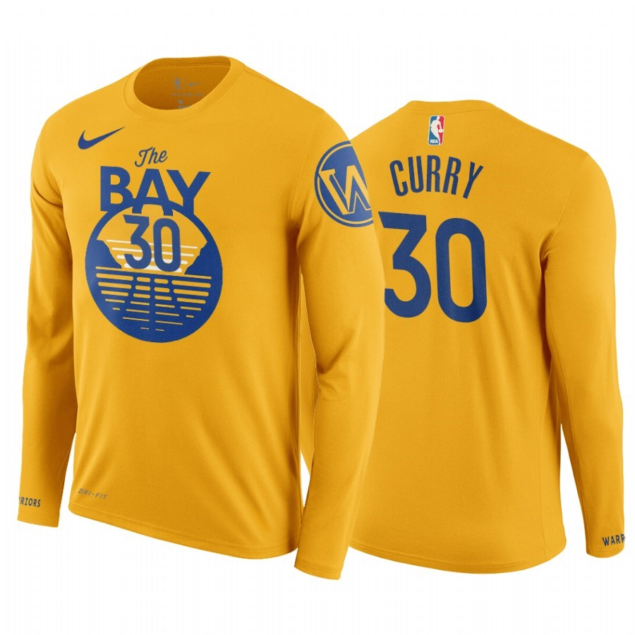 T-Shirt NBA Golden State Warriors Stephen Curry Manga Larga Jaune