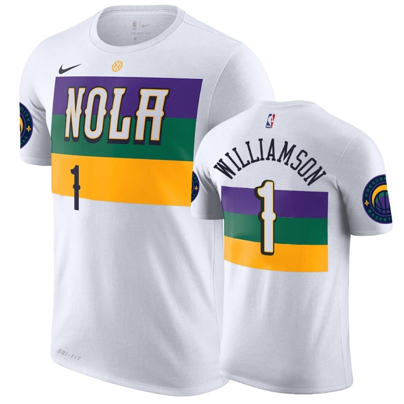 T-Shirt NBA New Orleans Pelicans Zion Williamson Blanc Ville