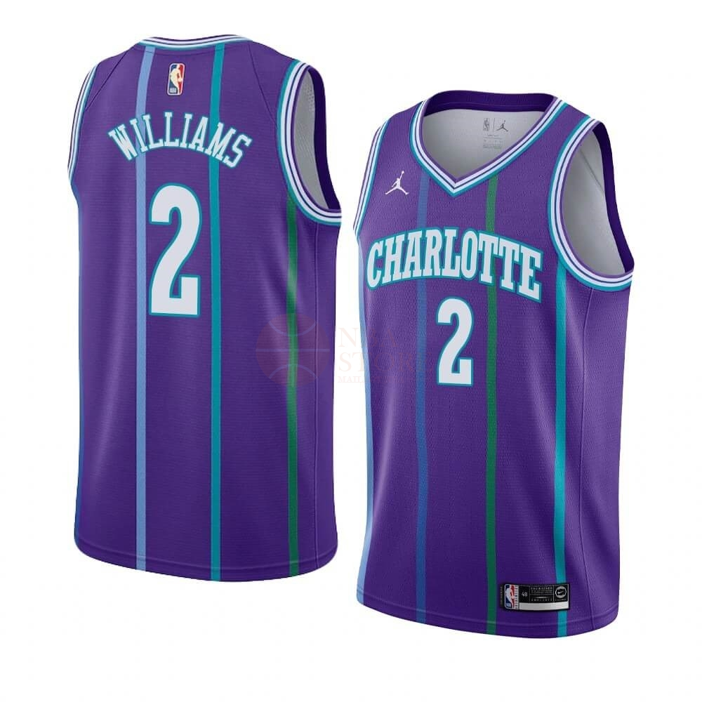 Classic Maillot NBA Charlotte Hornets NO.2 Marvin Williams Pourpre Hardwood Classics