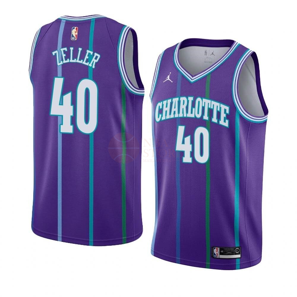 Classic Maillot NBA Charlotte Hornets NO.40 Cody Zeller Pourpre Hardwood Classics