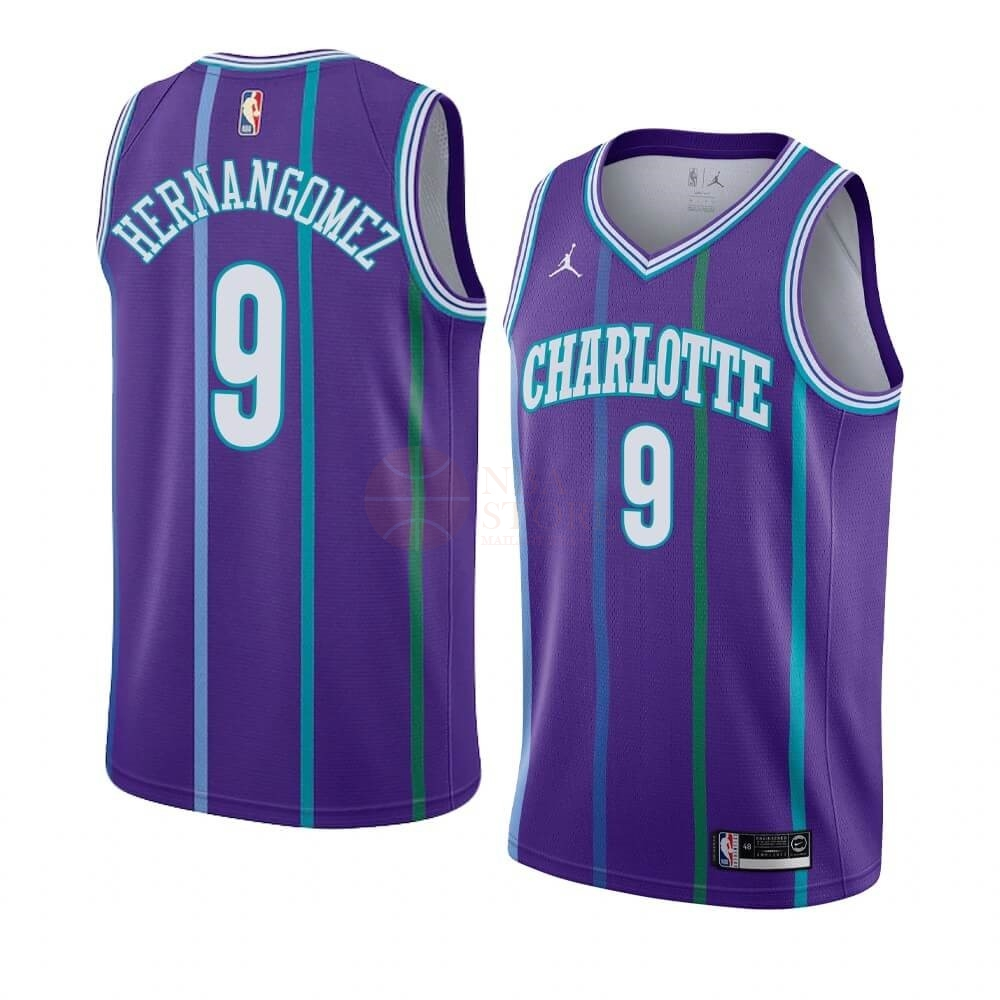 Classic Maillot NBA Charlotte Hornets NO.9 Willy Hernangomez Pourpre Hardwood Classics