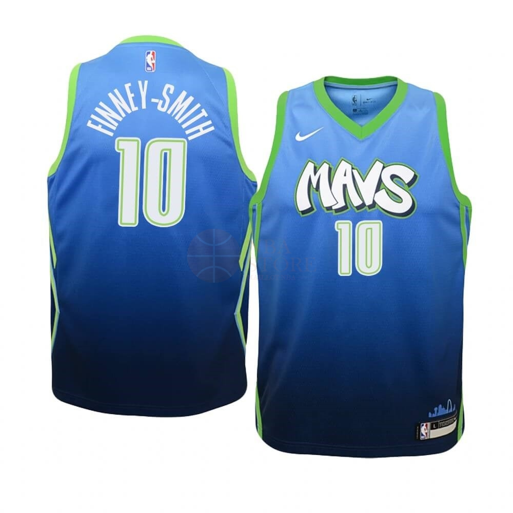 Classic Maillot NBA Enfant Dallas Mavericks NO.10 Dorian Finney Smith Nike Bleu Ville 2019-20