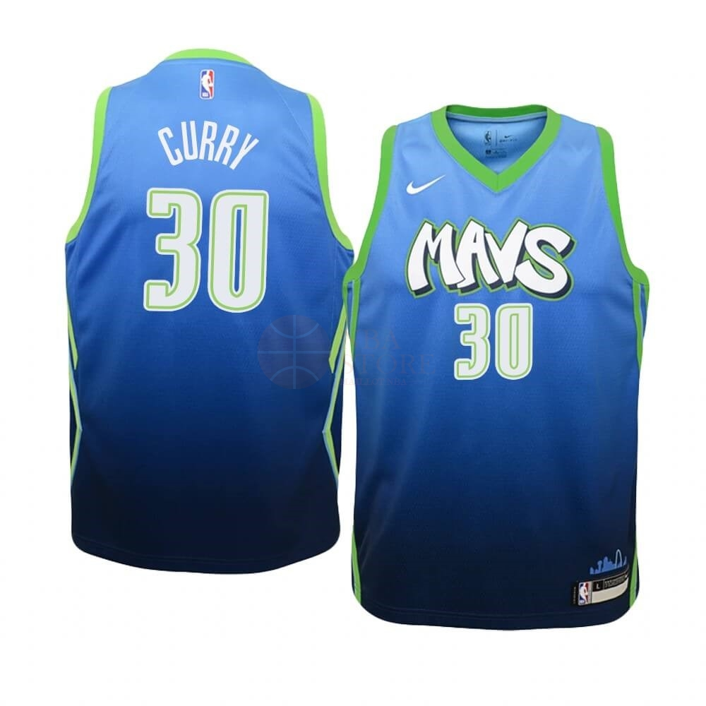 Classic Maillot NBA Enfant Dallas Mavericks NO.30 Seth Curry Nike Bleu Ville 2019-20