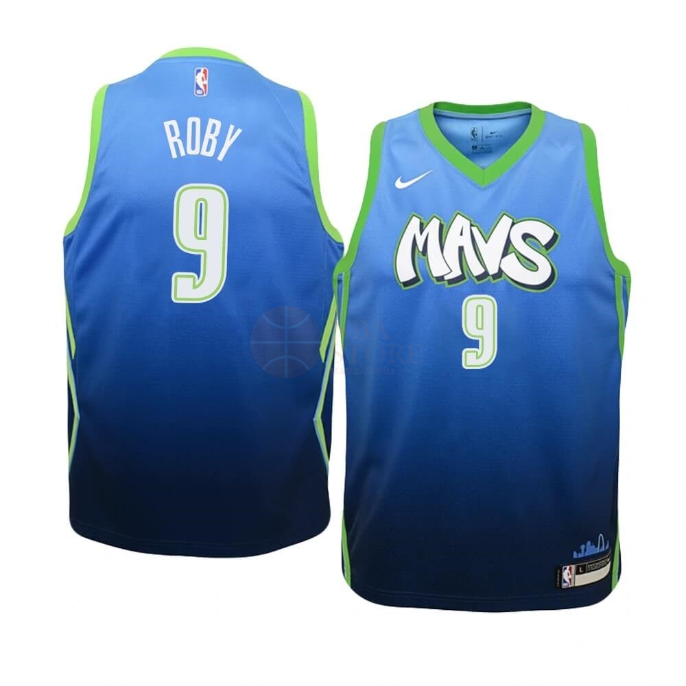 Classic Maillot NBA Enfant Dallas Mavericks NO.9 Isaiah Roby Nike Bleu Ville 2019-20