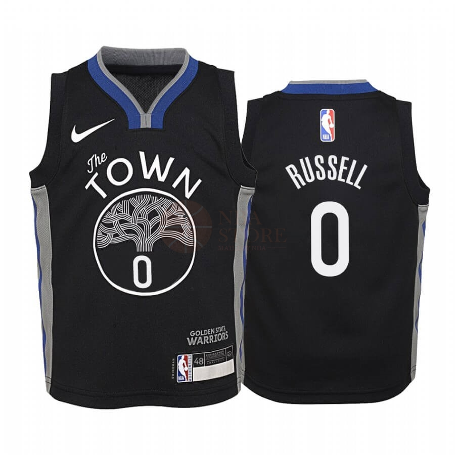 Classic Maillot NBA Enfant Golden State Warriors NO.0 D'Angelo Russell Nike Noir Ville 2019-20