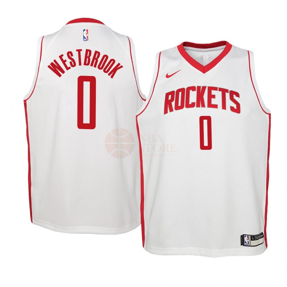 Classic Maillot NBA Enfant Houston Rockets NO.0 Russell Westbrook Blanc Association 2019-20
