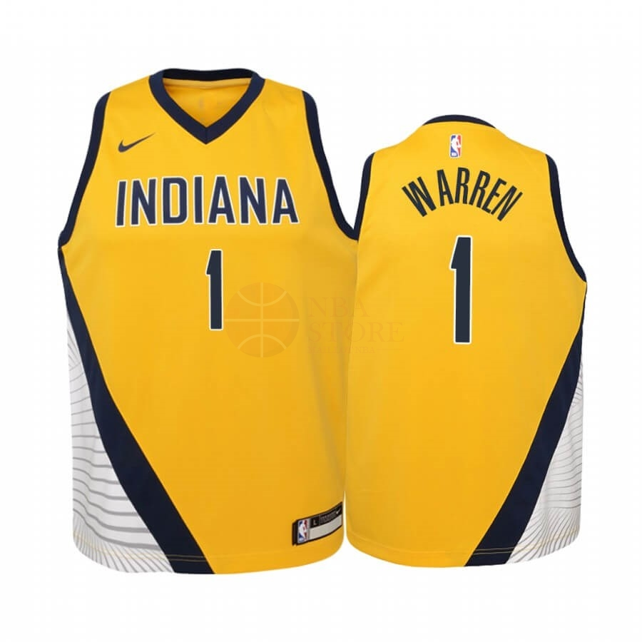 Classic Maillot NBA Enfant Indiana Pacers NO.1 T.J. Warren Jaune Statement 2019-20