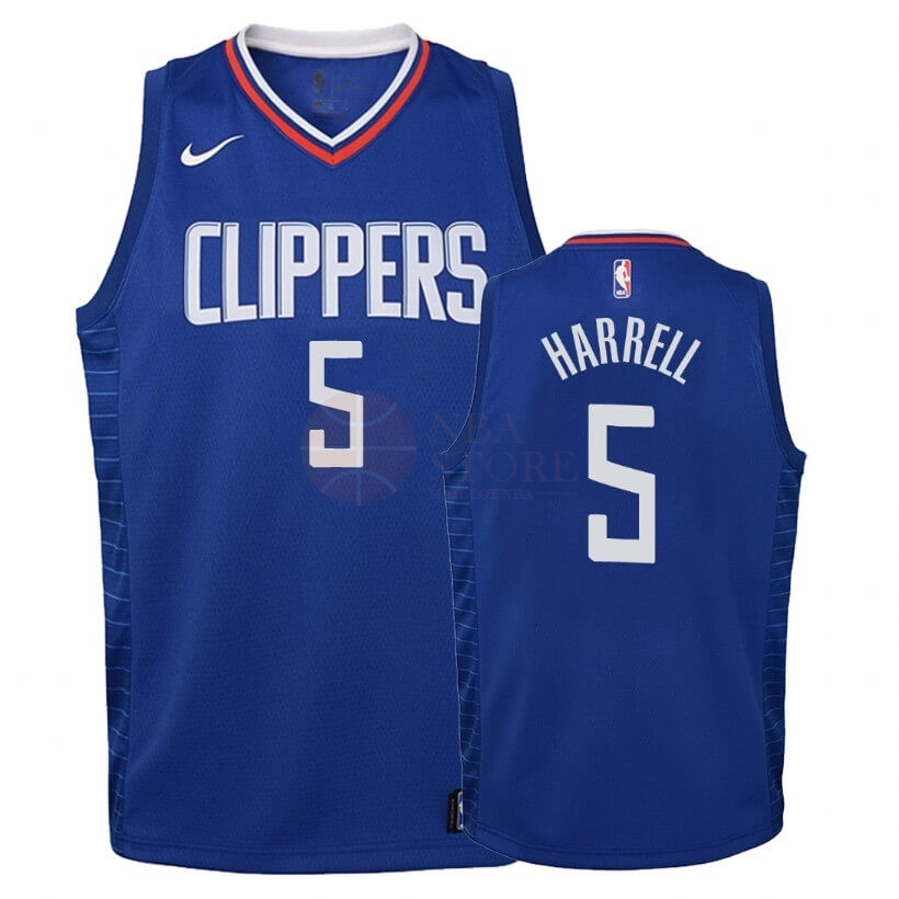 Classic Maillot NBA Enfant Los Angeles Clippers NO.5 Montrezl Harrell Bleu Icon 2019-20