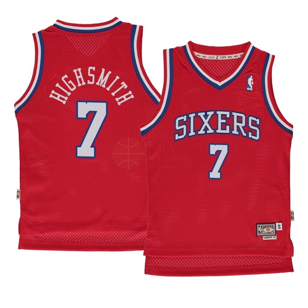 Classic Maillot NBA Enfant Philadelphia Sixers NO.7 Haywood Highsmith Rouge Hardwood Classics 1982-83