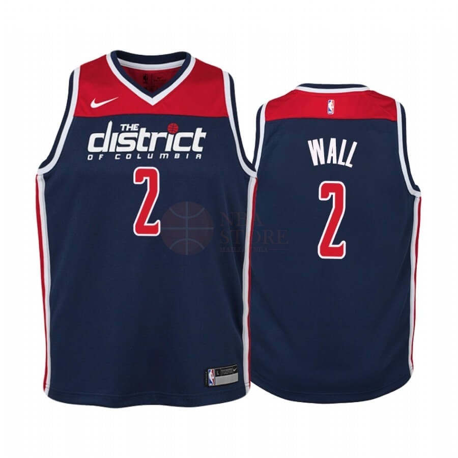 Classic Maillot NBA Enfant Washington Wizards NO.2 John Wall Marine Statement 2019-20