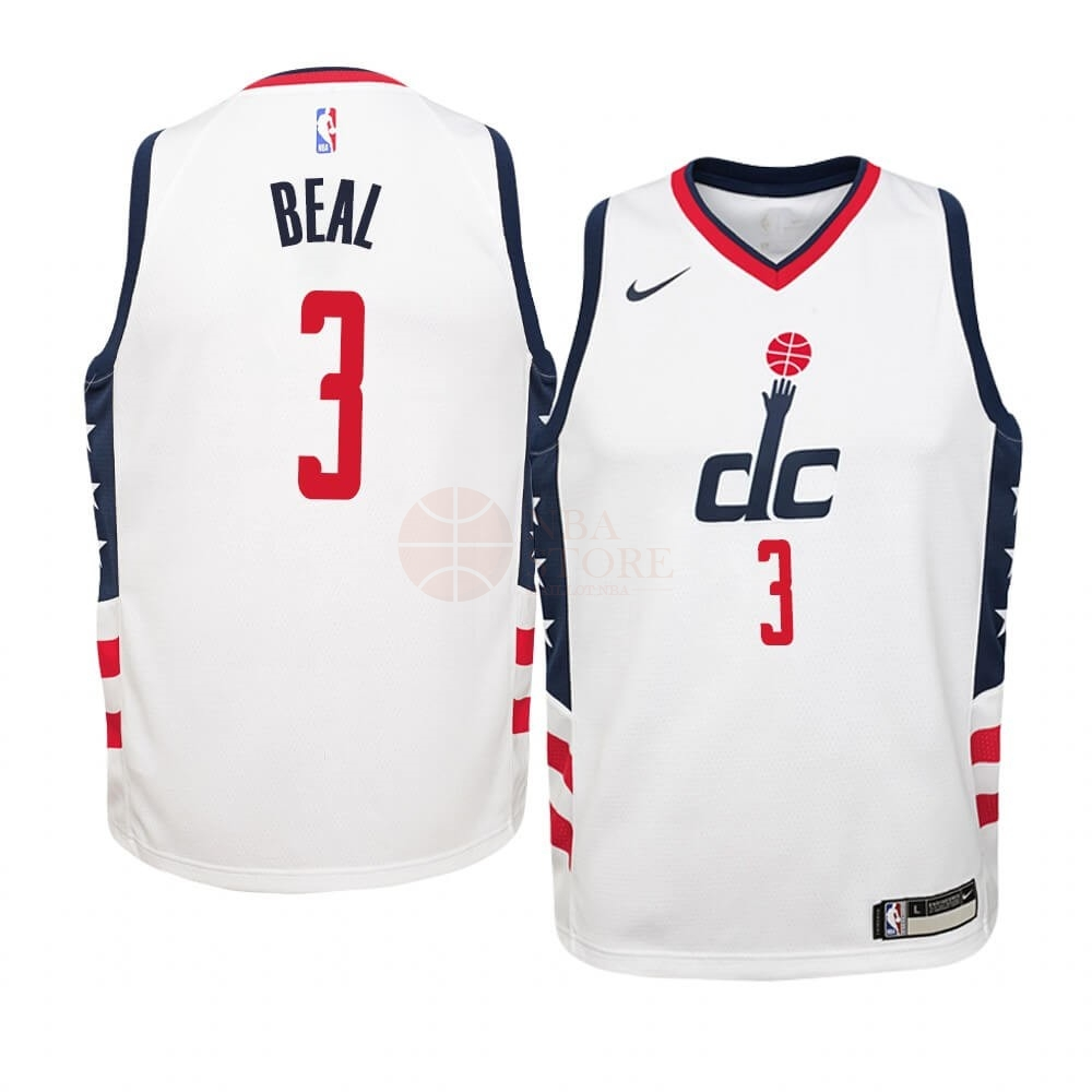 Classic Maillot NBA Enfant Washington Wizards NO.3 Bradley Beal Nike Blanc Ville 2019-20