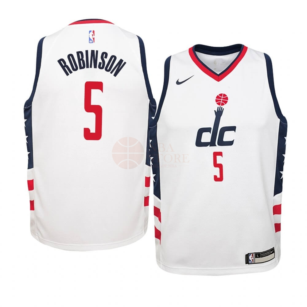 Classic Maillot NBA Enfant Washington Wizards NO.5 Justin Robinson Nike Blanc Ville 2019-20