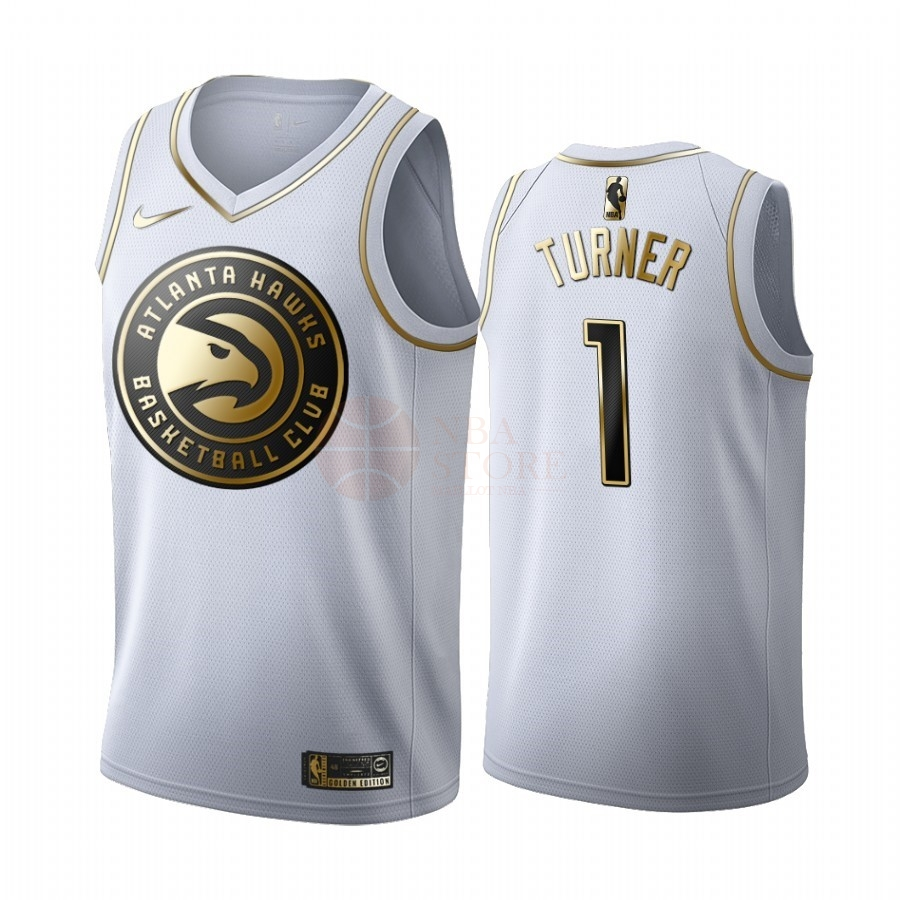 Classic Maillot NBA Nike Atlanta Hawks NO.1 Evan Turner Blanc Or 2019-20