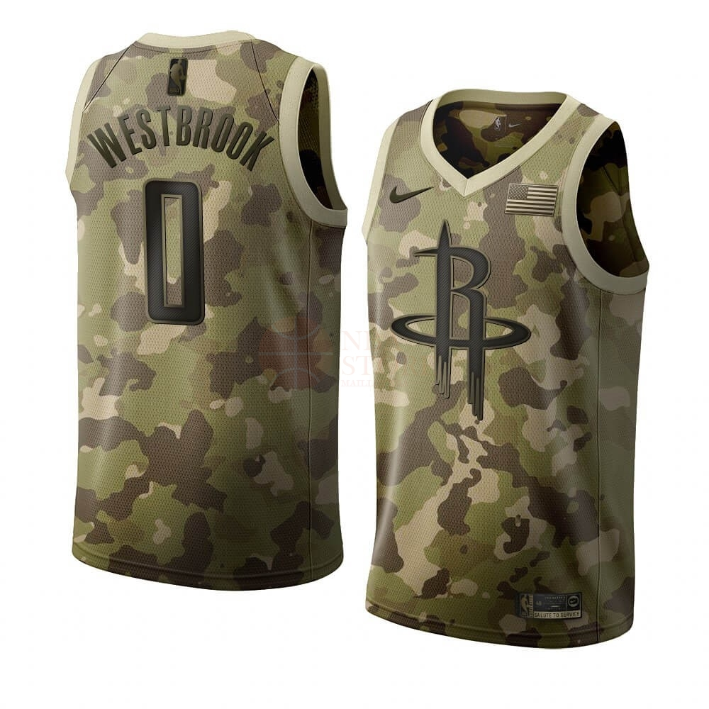 Classic Maillot NBA Nike Houston Rockets NO.0 Russell Westbrook Camouflage 2019