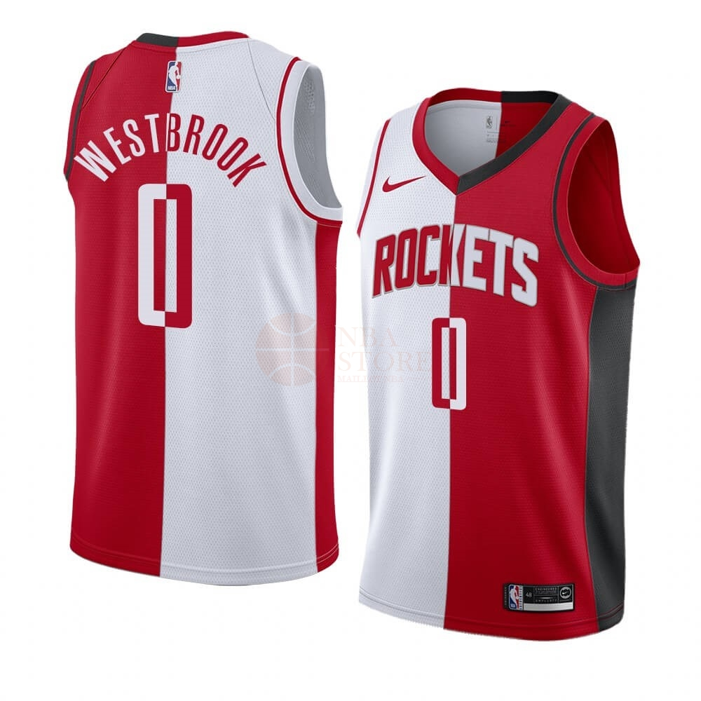 Classic Maillot NBA Nike Houston Rockets NO.0 Russell Westbrook Rouge Blanc Split Edition