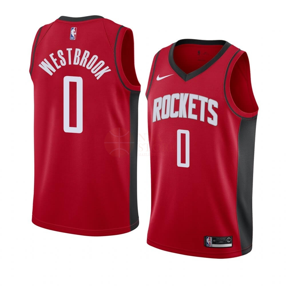 Classic Maillot NBA Nike Houston Rockets NO.0 Russell Westbrook Rouge Icon 2019-20