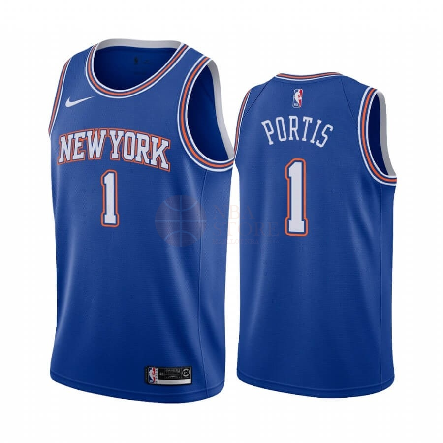 Classic Maillot NBA Nike New York Knicks NO.1 Bobby Portis Bleu Statement 2019-20