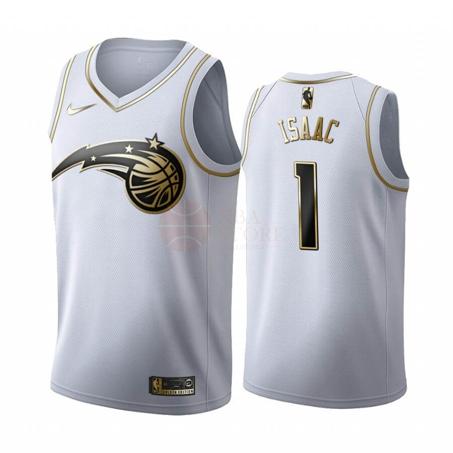 Classic Maillot NBA Nike Orlando Magic NO.1 Jonathan Isaac Blanc Or 2019-20