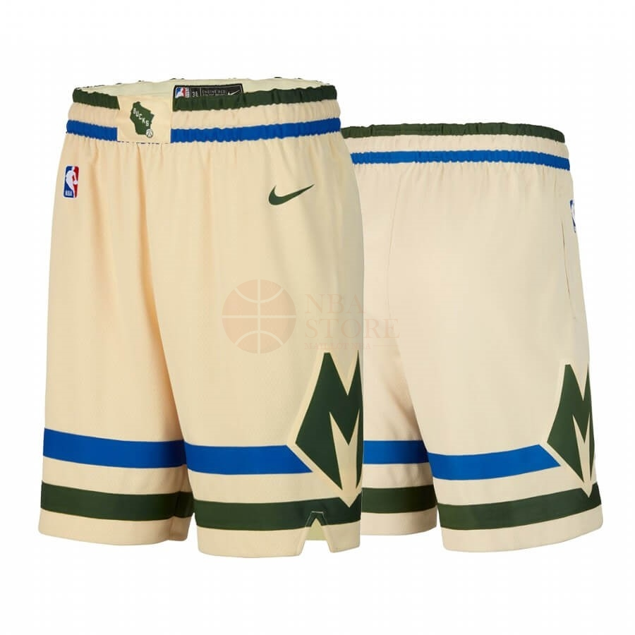 Classic Short Basket Milwaukee Bucks Nike Crème Ville 2019-20