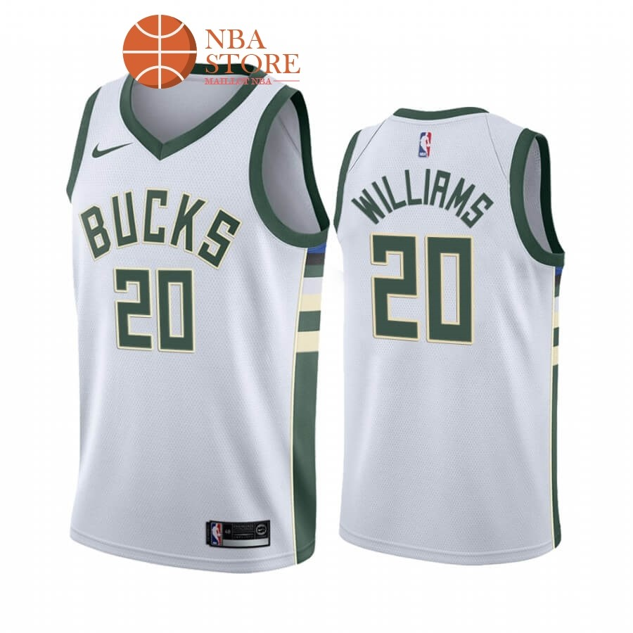 Maillot NBA Nike Milwaukee Bucks NO.20 Marvin Williams Blanc Association 2019-20