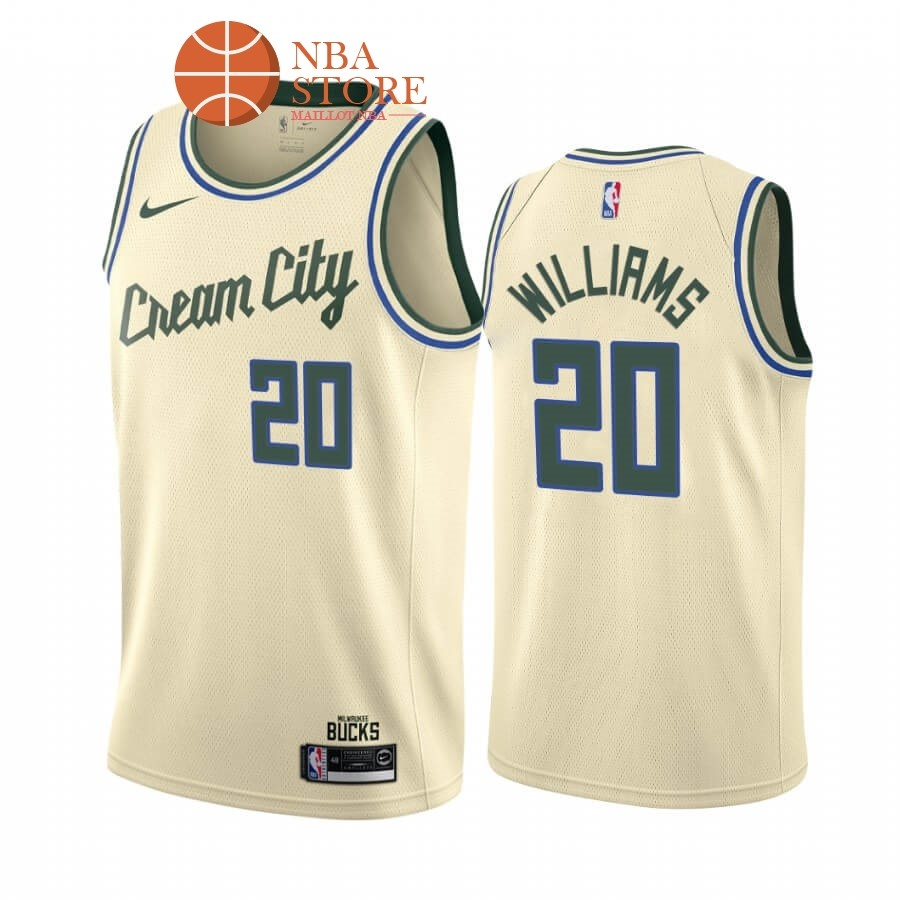 Maillot NBA Nike Milwaukee Bucks NO.20 Marvin Williams Nike Crema Ville 2019-20