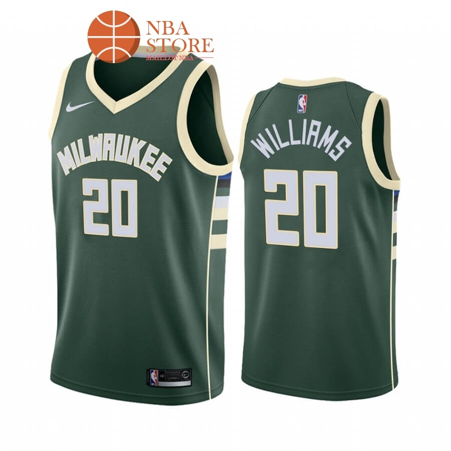 Maillot NBA Nike Milwaukee Bucks NO.20 Marvin Williams Vert Icon 2019-20
