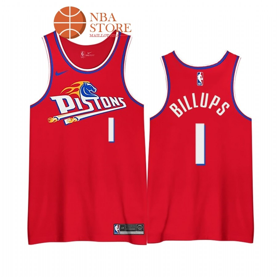 Maillot NBA Earned edition Detroit Pistons NO.1# Chauncey Billups Rouge 2020-21