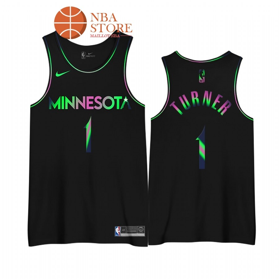Maillot NBA Earned edition Minnesota Timberwolves NO.1# Evan Turner Noir 2020-21