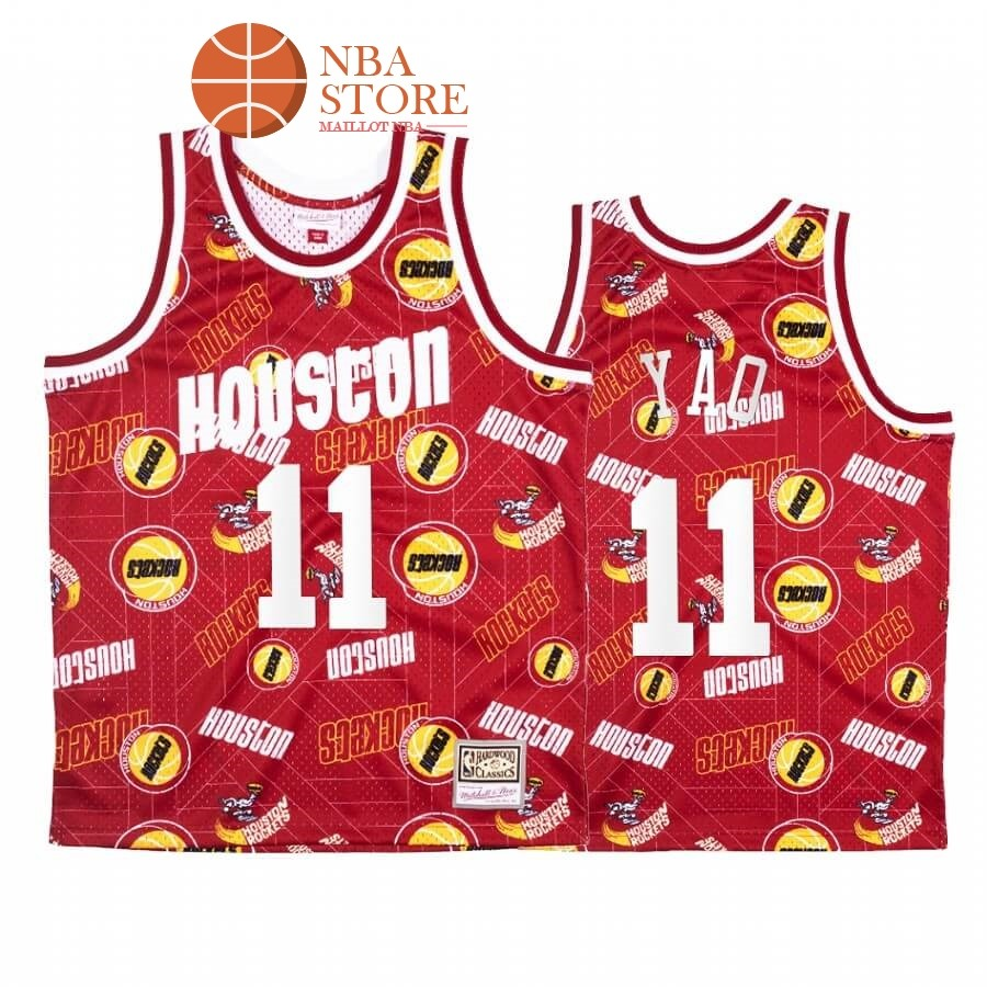 Maillot NBA Houston Rockets Tear Up Pack NO.11# Yao Ming Rouge Hardwood Classics