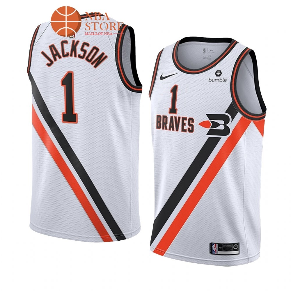 Maillot NBA Nike Los Angeles Clippers NO.1# Reggie Jackson Blanc Ville 2019-20