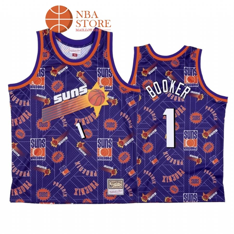 Maillot NBA Phoenix Suns Tear Up Pack NO.1# Devin Booker Pourpre Hardwood Classics