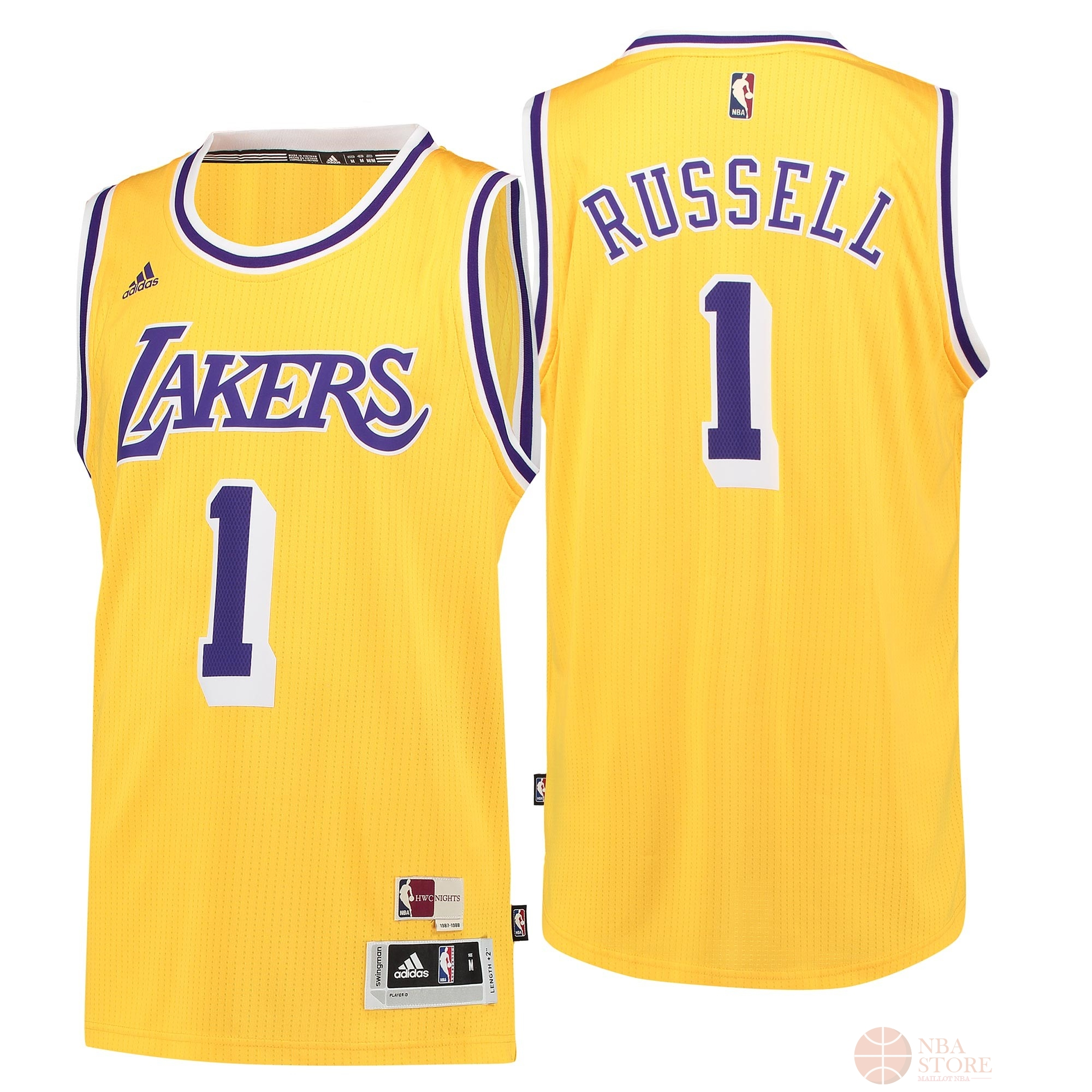 Classic Maillot NBA Los Angeles Lakers NO.1 D'Angelo Russell Retro Bleu