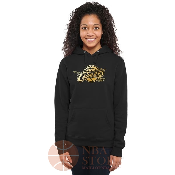 Classic Hoodies NBA Femme Cleveland Cavaliers Noir Or