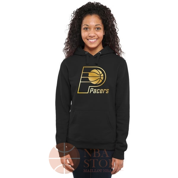 Classic Hoodies NBA Femme Indiana Pacers Noir Or