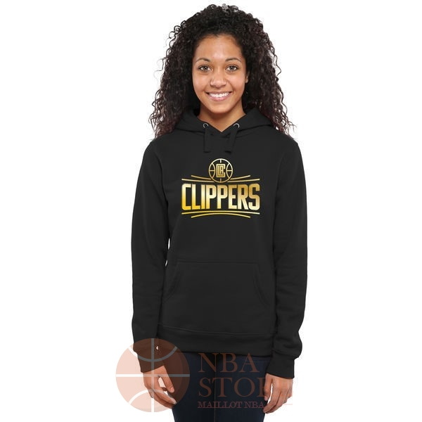 Classic Hoodies NBA Femme Los Angeles Clippers Noir Or
