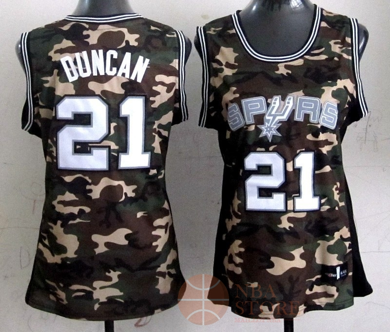 Classic Maillot NBA Femme 2013 Camouflage Fashion NO.21 Tim Duncan