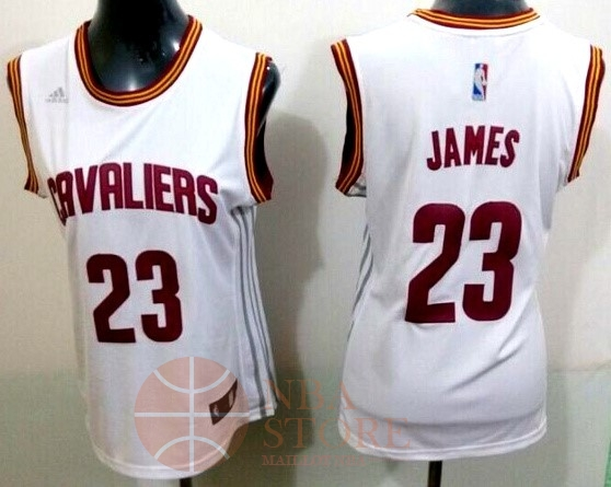 Classic Maillot NBA Femme Cleveland Cavaliers NO.23 LeBron James Blanc Bande