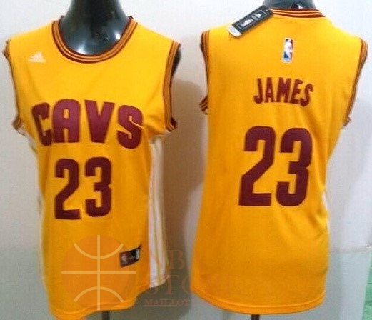 Classic Maillot NBA Femme Cleveland Cavaliers NO.23 LeBron James Jaune Bande